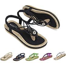 gracosy Sandalias Planas Verano Mujer Estilo Bohemia Zapatos de Dedo Sandalias Talla Grande Cinta Elástica Casuales