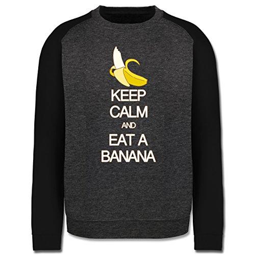 Keep calm - Keep calm and eat a banana - Herren Baseball Pullover Dunkelgrau Meliert/Schwarz