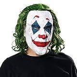 NUWIND Joker Maske mit grünen Haaren Latex Kopfmaske Arthur Fleck Horror Gesichtsmaske für Halloween Karneval Party Kostüm