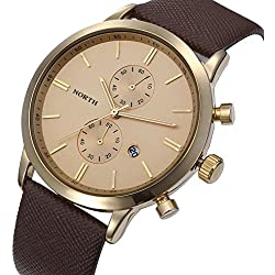 Tonsee Fashion Men Casual Waterproof Date Leather Military Japan Watch Gift