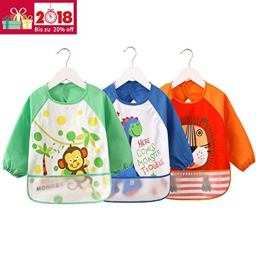 3er Pack ÄrmelLätzchen Wasserdicht Baby lätzchen - Essen und Play Smock Schürze für Kleinkinder von 6 - 36 Monate (Große Wasserdichte Baby Lätzchen)