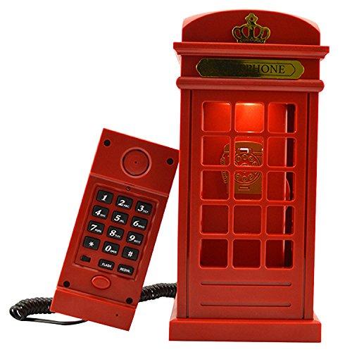 Vintage London Telefonzelle entworfen USB aufladen LED Nacht Lampe Touch Sensor Tisch Schreibtisch leicht anpassbaren Helligkeit Corded Festnetz-Telefon für Schlafzimmer Home Dekoration Neuheit Geburtstagsgeschenk