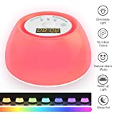 Wake up Light con Alarm Clock,Lampada Sveglia Luce Naturale con 20 Livelli Luminosità,4 Suoni Naturali,Funzione di Sonno Unica,Luce Notturna con 256 Colori,Carica USB,Orario di Lavoro: fino a 120 ore