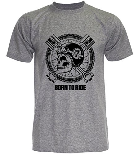 PALLAS Unisex's Motorcycle Club Vintage Born to Ride T Shirt Grey
