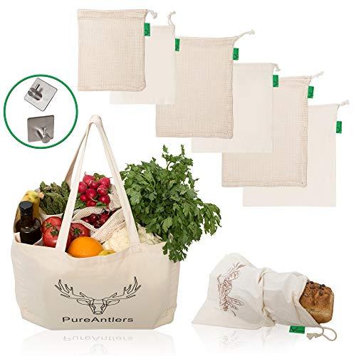 Set wiederverwendbare umweltfreundliche Bio Baumwolltaschen Einkaufstasche Tragetasche für Obst Gemüse sowie Brot Aufbewahrungstaschen Set mit 8 Stück, faltbar, Bonus: Selbstklebender Haken