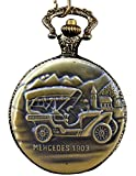 #8: LMP3Creation Classic Vintage Retro Antique Bronze Finish Mercedes 1903 Look Pocket Watch With Chain (POW-0223)