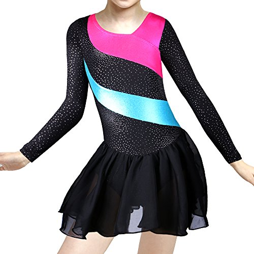 DAXIANG Gymnastic Leotards for Girls Longsleeve Sleeveless Rainbow Stripes with Ballet Tulle Dress Skirt