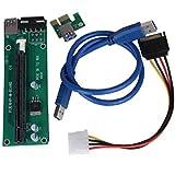 Sannysis 2pc Adaptador PCI Express Tarjeta vertical accionado/ Tarjeta de expansión USB 3.0 extension cable 1x a 16x Monero color verde