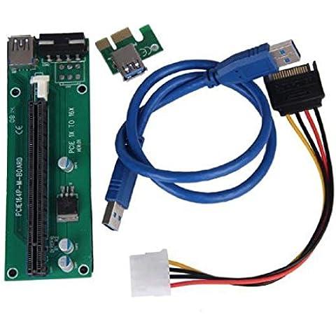 Sannysis 2pc Adaptador PCI Express Tarjeta vertical accionado/ Tarjeta de expansión USB 3.0 extension cable 1x a 16x Monero color