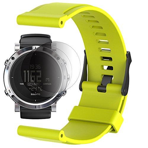 Suunto Core / Essential Banda con Protezione Schermo, TUSITA Sostituzione Soft Silicone Bracciale Sport Cinturino WristBand Accessorio Per Suunto Watch (VERDE)