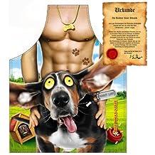 Frech und witzig!! Themenschürze mit dem Motiv: Glücklicher Hund ...mit GRATIS Urkunde!!!