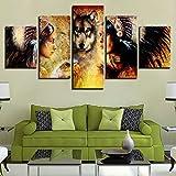Moderne Zuhause Schlafzimmer Sofa Wand Kunst Indianer und Wolf dekorative Malerei Wandmalereien 10 x 15 (cm) x 210 x 20 (cm) x 210 x 25 (cm) x 1