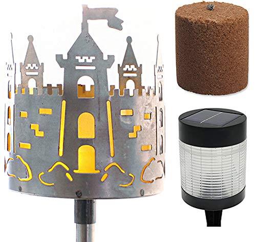 Novaliv Gartenfackel Burg Feuerschale Metall mit Stiel Brennmittel LED Solar Lampe Gartenleuchte Solarleuchte