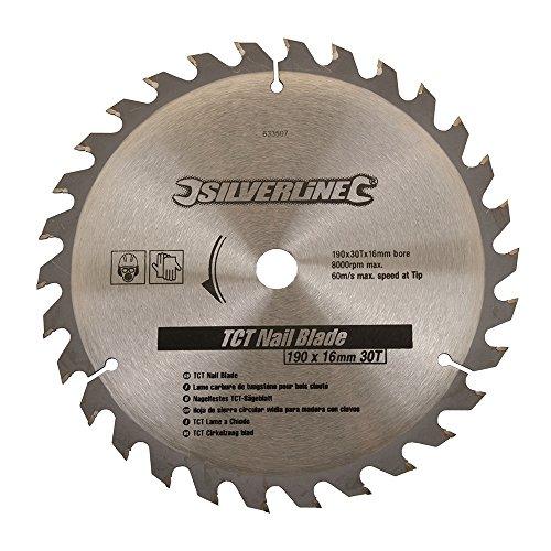 Silverline 633507 Nagelfestes Hartmetall-Kreissägeblatt, 30 Zähne 190 x 16, ohne Reduzierstücke