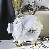 Casablanca Sparschwein Lady Pig mit Krone, Perlenkette und aufgemalten Pumps, 10x14x12 cm, weiß gold