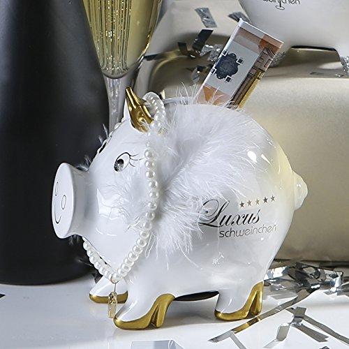 Spardose Lady Pig Keramik weiß goldene Krone aufgemalte Pumps T10cm Sparschwein, Geschenk Frau