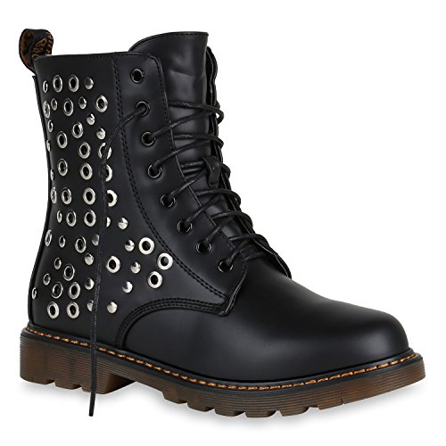 Damen Stiefeletten Worker Boots Leicht Gefütterte Stiefel 148705 Schwarz Nieten Avelar 39 Flandell