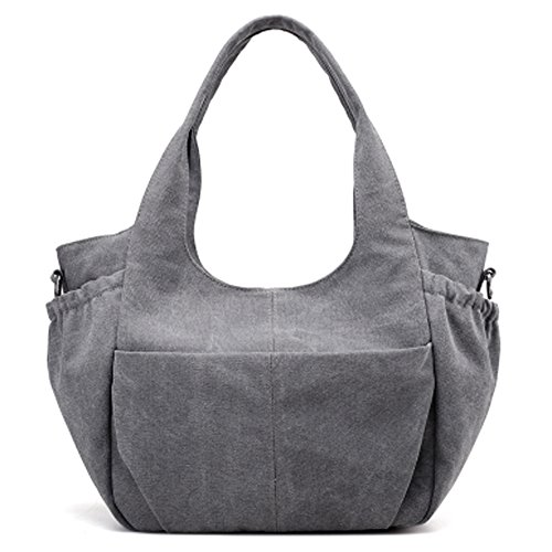 GoodPro Hobo Canvas Shoulder Tote Bags Women Handbags Messenger bags Large Fashion Handbags for Womens GP336 (Grey)