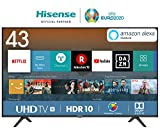 HISENSE H43BE7200 TV LED Ultra HD 4K, HDR, Dolby DTS, Single Stand Slim Design, Smart TV VIDAA U3.0 AI, Triple Tuner
