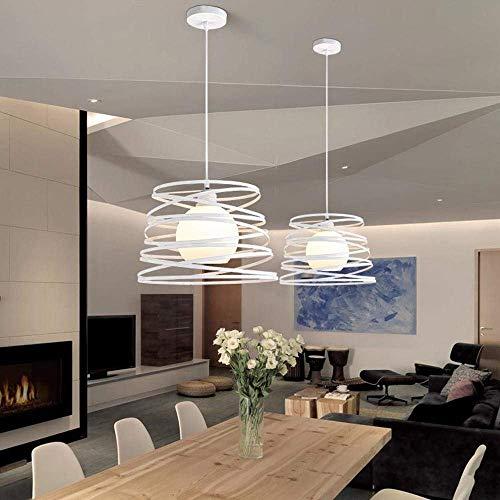 OOFAY LIGHT Modern Pendelleuchte E27 1 flammig Deisgn Küche Lampe Flur Arbeitszimmer Leuchte Esszimmerlampe Decke Beleuchtung Weiß Eisen Rahmen Durchmesser 34cm Abhängung 100cm H&oum - Durchmesser Decken-beleuchtung
