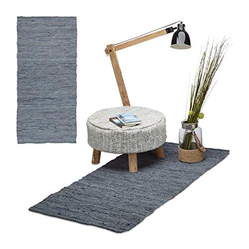 2x Läufer Leder im Set, Teppichläufer 70x140 cm, Dielenläufer Echtleder, Teppich handgefertigt, Flurteppich, grau Gewebte Leder-teppich
