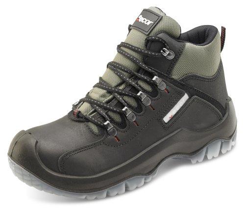 Clique Homens Workwear Traxion Nobuk Encerado Antiestático / Antiderrapante Segurança Do Trabalho Bota Preta