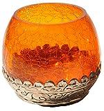Alterras - Dekorations-Objekt: Teelicht Lampe Glas orange (H: 8cm, Ø: 8cm)