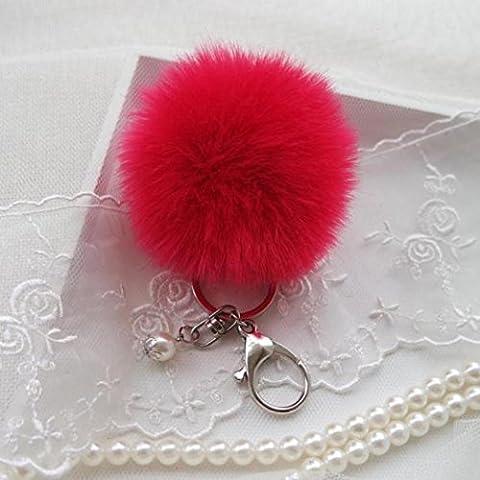 Porte-clés/Trousseau, Malloom clé de voiture en peluche de lapin boule de faux fourrure sac de porte-clés clé de voiture de pendentif anneau (Rose vif)