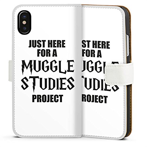 Apple iPhone X Silikon Hülle Case Schutzhülle Harry Potter Spruch Muggle Sideflip Tasche weiß