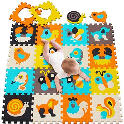meiqicool Puzzlematte Tiere Puzzleteppich Baby Puzzlematte Schadstofffrei Bodenpuzzle Schaumstoff Puzzlematte Schadstofffrei Puzzle-Zubehör Teppiche & Läufer 010010