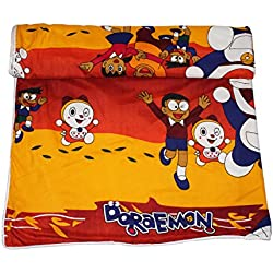 Frabjous Doraemon Cartoon Prints Polycotton Single Bed Reversible AC Dohar/Blanket/Quilt (Yellow) Diwali Gift for Home