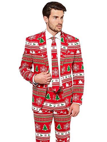 Opposuits Weihnachtsanzüge für Herren in verschiedenen Drucken - besteht aus Sakko, Hose und Krawatte