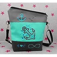 pinkeSterne ☆ Handtasche Umhängetasche Schultertasche Kunstleder Handmade Bestickt Stickerei Handmade Anker Maritim