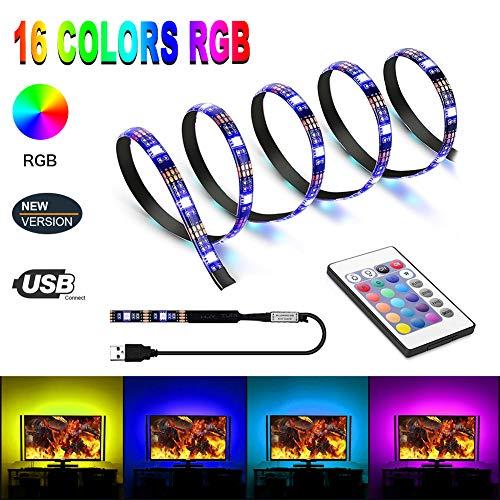 USB LED Strip 2M TV Hintergrundbeleuchtung LED Streifen Für TV Dekoration, USB Lichtleiste Dimmbar Selbstklebend LED Band 5050 SMD RGB Lichterkette LED Stripes mit Fernbedienung 16 Mehrfarbige
