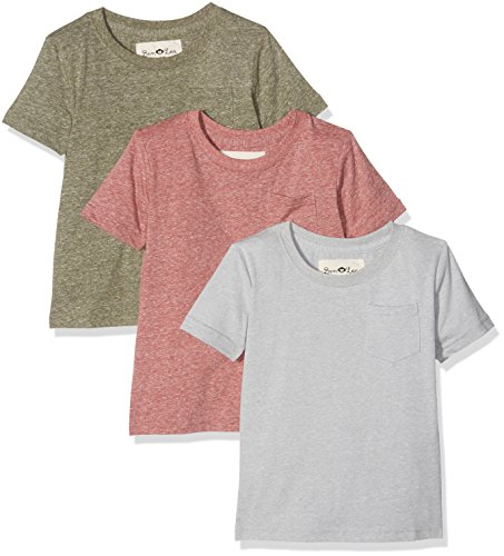 Ben & Lea Jungen T-Shirt Irna, 3er Pack, Mehrfarbig (Hellgrau, Oilve Melange, Brick Melange 092), 98 (Herstellergröße: 98/104)