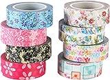 ST Washi Tape-Nastro decorative di carta Washi,15mm x 9,14m Ciascuno,Set di 8