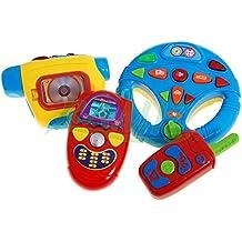 Interactive 4in1 Playset pour bébé 65065 - Jouets musicaux - Kit musicale avec son et lumi?re - volant - caméra - Téléphone portable - ? distance avec boutons - Mon voyage playset - Jouets électroniques