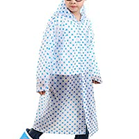 Taiduosheng Age 6-12 Kids Dots Style Hooded Rain Poncho Raincoat Cover Long Rainwear
