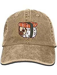 Hipiyoled Lindo Sushi Pug Vintage Washed Dyed Cotton Twill Perfil Bajo  Gorra de béisbol Ajustable Negro 395c4534454