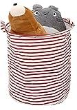 Zooawa Almacenamiento en el cofre de juguete/ Ropa sucia,Cesta plegable grande del organizador plegable cesta impermeable plegable con el cordón y las manijas -Raya roja + blanca