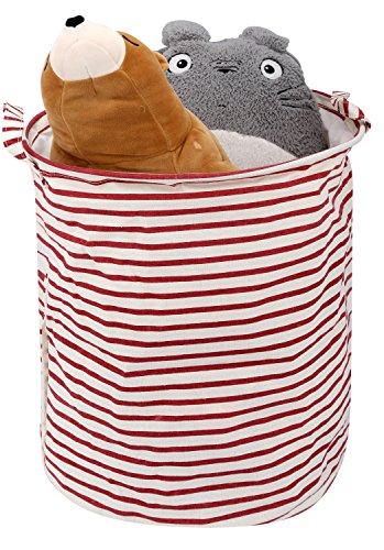 Zooawa Spielzeug Organizer/Laundry Hamper,Wasserdichte Wäschekorb Faltbare Schmutzige Householder Wäschebox Laundry Basket mit Griff - Rot und Weiß (Waschküche Container)