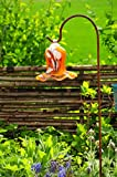Glas-Deko für Garten,Blüten und Zapfen, Gartenkugel Massivglas ROBUST, Tulpe Tropfen, Blume mit Hakenhalter Schäferstab FROSTSICHER & MASSIV Glas-Dekoration Blüte Gartentulpe Glocke Sonnenfänger für Lichteffekte im Garten, Rosenkugel 17 cm gross Form Tulpe, modisches Tulpendesign handgefertigt mit Bogenstab 125 cm, orange weiß mit süßem Blumenmuster Gartenkugel Sonnenfänger, Gartendeko FROSTSICHER, lichtbeständig und WINTERFEST, Metallstiel Schäferstab Rosenkugeln Glas Deko