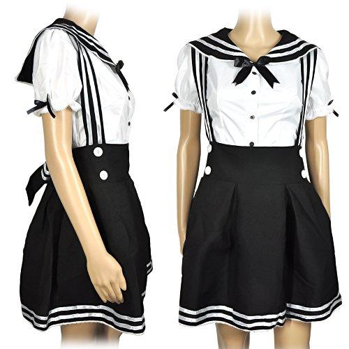 CoolChange Cosplay Schulmädchen Uniform, Schwarz, Größe: L (Dienstmädchen Kostüm Japan)