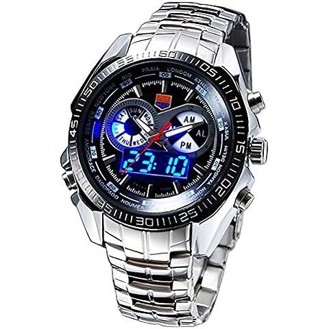 PIXNOR TVG 100m impermeable hombres 's digital deportivo reloj de cuarzo (Negro)