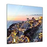 Glasbild - Oia Village Santorini - Griechenland - - 30x30 - Deko Glas - Wandbild aus Glas - Bild auf Glas - Moderne Glasbilder - Glasfoto - Echtglas - Kein Acryl - Handmade