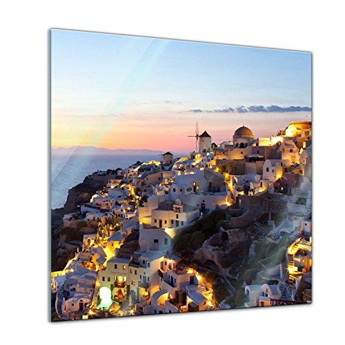 Glasbild - Oia Village Santorini - Griechenland - 30x30 - Deko Glas - Wandbild aus Glas - Bild auf Glas - Moderne Glasbilder - Glasfoto - Echtglas - kein Acryl - Handmade