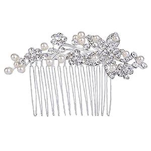 Clearine Damen Böhmisch Blume Klar Kristall Cream Künstliche Perlen Hochzeit Braut Bling Haarkamm Haarschmuck