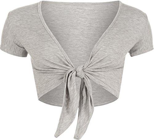 WearAll - Cardigan court ouvert à manches courtes avec un noeud - Cardigans - Femmes - Tailles 36 à 42 Gris