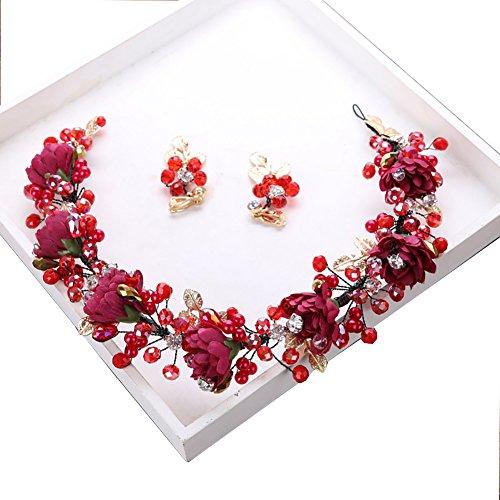 Tukistore Bridal Flowers Kranz Kopfschmuck Frauen Hochzeit Crystal Pearl Blumen Stirnband Garland Crown Headwear Tiara Kopfschmuck Haarschmuck mit Ribbon + Ohrringe Set (Blumen-stirnband Crown)