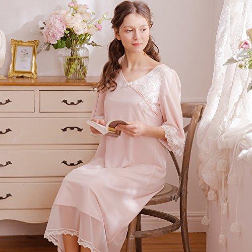 JINSHENG Chinesische Wind Pyjama Weibliche Sommer v - Kragen Lange ärmel im Frühjahr und Herbst Gericht Prinzessin kurzärmeliges Langen Rock Größe Schwangere Pyjama,165 (L),Pink,